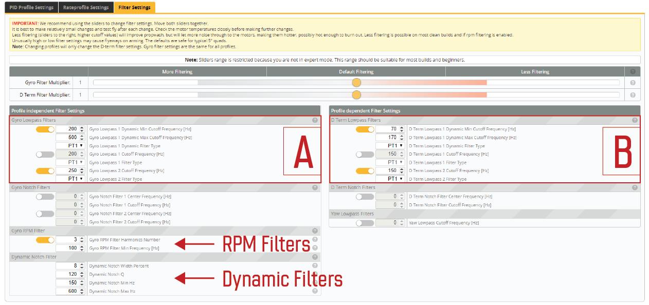 Filter Settings Tab in Betaflight